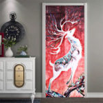 New 3D Door Wall Sticker Fridge Deer Waterproof Sticker Self Adhesive Paper Wrap Mural Decal