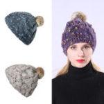 New Women Handmade Jacquard Mixed Color Knit Hat Beanie Cap