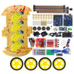 New Upgrated Multifunction Bluetooth Controlled 4WD UNO R3 Starter DIY Chassis Car Kit for Arduino