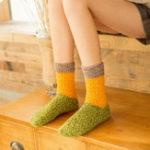 New Women Vintage Patchwork Indoor Coral Fleece Floor Socks