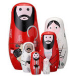 New 6PCS Wooden Jesus Christmas Russian Doll Matryoshka Nesting Toy Gift Home Decor