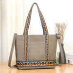 New Women Canvas National Embroidery Patchwork Handbag