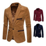 New Mens Business Vintage Corduroy Stitching Color Casual Suit