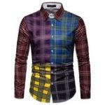 New Men Plaid Patchwork Turn-down Collor Shirts