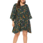 New Plus Size Casual Printed Long Sleeve Short Dress