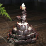 New Ceramic Lotus Pond Waterfall Smoke Backflow Cone Censer Incense Burner Holder + 10 Cones