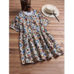 New Plus Size Floral Print Pleated Short Sleeve Women Blouse