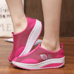 New Mesh Breathable Rocker Sole Shoes Slip On Sneakers
