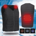 New Men USB Electric Heating Vest Jacket Outdoor Sports Waterproof Winter Warm Clothes Heated Padded Coat