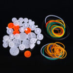 New 84pcs Pulley Plastic Gears Kit Rubber Band Pulley Belt Shaft Robot Motor Bevel Set