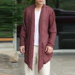 New Mens Long Linen Cotton Baggy Cardigans
