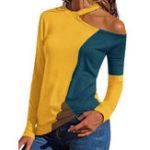 New Women Asymmetric Neckline Patchwork Block Pullover Blouse
