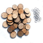 New 40Pcs Round Wooden Slices Sheet With 40 Iron Loop Set For Birthday Reminder DIY Hanging Wood Plaque Decorations