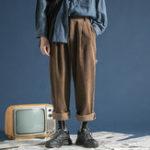 New Mens Vintage Winter Corduroy Multi Pockets Loose Pants