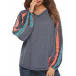 New Print Patchwork Lantern Sleeve Knit Sweaters