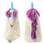 New Unicorn Winter Pink Kintted Hat Hooded Scarf Earflap Knitted Cap Xmas Gift Kids / Boy / Girl