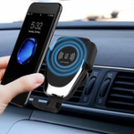 New 10W Qi Wireless Fast Charge Gravity Linkage Auto Lock Car Air Vent Holder Mount for iPhone Mobile Phone