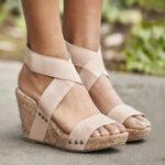 New Large Size Women Peep Toe Elastic Band Cross Wedge Sandals