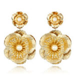 New Luxury Flower Vintage Pearls Big Dangle Earrings