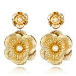 New Luxury Flower Vintage Pearls Big Dangle Earrings