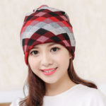 New Women Plaid Slouchy Ponytail Beanie Caps Scarf