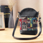 New Women National Cat Embroidery Bucket Bag PU Leather Bag