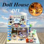 New Hoomeda DIY Wooden Doll House Blue Ocean Coast Miniature Furniture Music Light Gift Decoration