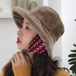 New Women Winter Warm Plush Wide Brimmed Bucket Cap
