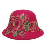 New Women's Ethnic Red Peony Bucket Hat Flower Embroidery Cap