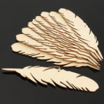 New 10pcs MDF Feather Wooden Slices Diy Craft Laser Manufacturing Room Wedding Decorations For Birthday Party Kids Table Number Cards Gift Tags