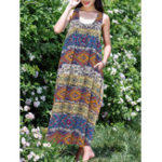 New Plus Size Boho Printed Sleeveless Women Long Dress