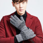 New Men Warm Thick Knit Touch Screen Gloves