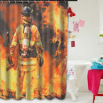 New Waterproof Polyester Fabric Shower Curtain Firemen Design Bathroom Home Decoration