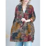 New Plus Size Printed V-neck Button Women Cotton Blouse