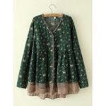 New Plus Size Floral Print V-neck Lace Hem Women Blouse