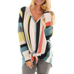 New Women V Neck Button Stripe Blouse