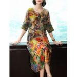 New Women O-neck Floral Elegant Dress