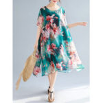 New Women Elegant Loose Floral Print  Short Sleeve Dress