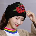 New Women's Ethnic Red Peony Embroidery Ponytail Hair Band Cap