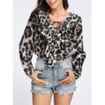 New M-5XL Elegant Leopard Print V-neck Ruffle Women Blouse