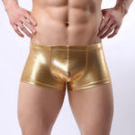 New Mens Faux Leather Mid Waist Underwear U Convex Pouch Boxer