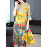 New Elegant O-neck Short Sleeve Floral Print Dress
