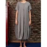 New Plus Size Vintage Crew Neck Short Sleeve Baggy Dress
