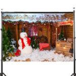 New 5x7FT Vinyl Christmas Wood Cabin Tree Snowman Backdrop Background Studio Prop