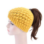New Women Hand Crocheted Warm Headband Ponytail Knit Hat