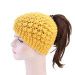 New Women Hand Crocheted Warm Headband Ponytail Knit Hat