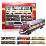 New Electric Classic Train Rail Vehicle Toys Set Track Music Light Operated Carriages Educational Gift