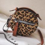 New Women Double Zipper Layers Plush Leopard Round Shoulder Bag
