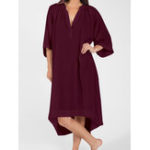 New Plus Size Cotton V-neck Half Sleeve Women Dress
