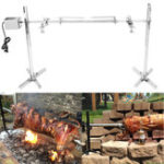 New 220V 15W Stainless Steel Portable Rotisserie Grill Spit Tripod BBQ Lamb Camping Roaster BBQ Grill